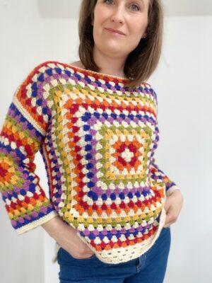 Rainbow Granny Square Sweater by Hannah Cross from HanJan Crochet
