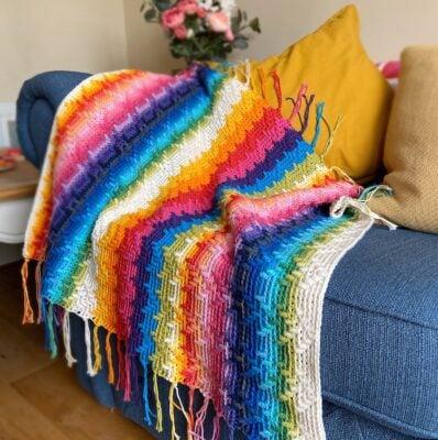 Rainbow Splash Mosaic Blanket by Hannah Cross from HanJan Crochet
