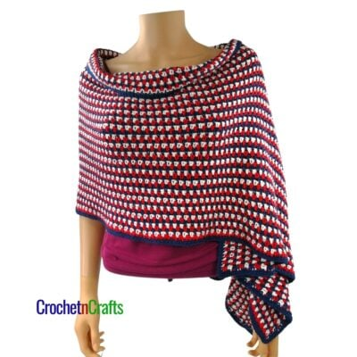 Red, White and Blue Crocheted Shawl Pattern by CrochetnCrafts