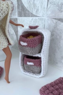 Dolls House Furniture Cube Storage by Rose Hudd from Memory Lane Crochet