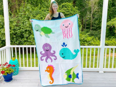 Ocean Animals Blanket by Melissa Hassler from Lovable Loops