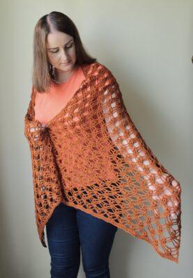Autumn Jewells Shawl by Veronika Cromwell from Blue Star Crochet.
