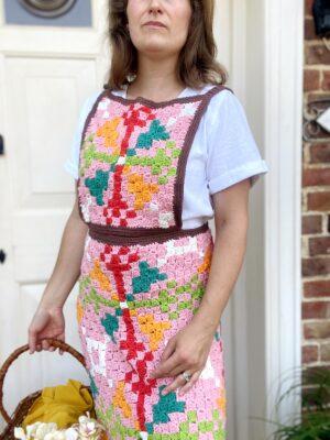Martha's Retro C2C Crochet Apron by Hannah Cross from HanJan Crochet.