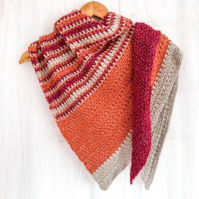 Autumn Meadow Asymmetrical Crochet Shawl by: Sarah Ruane from Ned & Mimi.