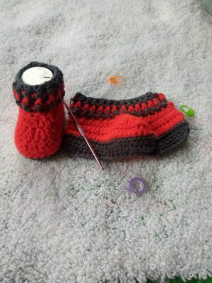 Crochet Unisex Baby Booties Worked Flat by Toyslab Creations.