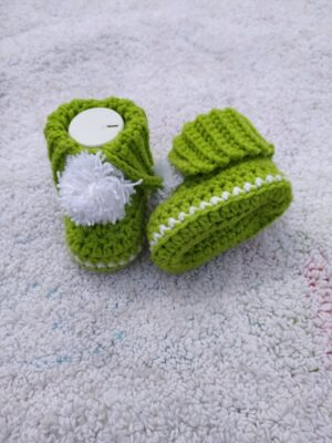 Crochet Ribbed Baby Booties Worked Flat by Toyslab Creations.