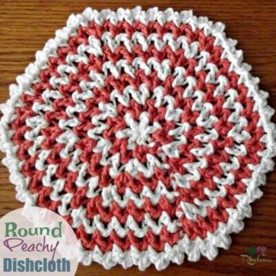 Peachy Round Crochet Dishcloth Pattern by CrochetnCrafts