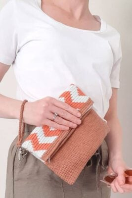Chevron Tapestry Crochet Clutch by Sarah Ruane from Ned & Mimi.
