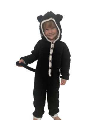 Black Cat Onesie - Halloween Costume by Rose Hudd from Memory Lane Crochet.