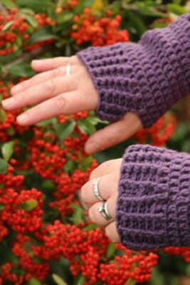Cable Wrist Warmers by Vicki Roberts from Off the Hook For You.