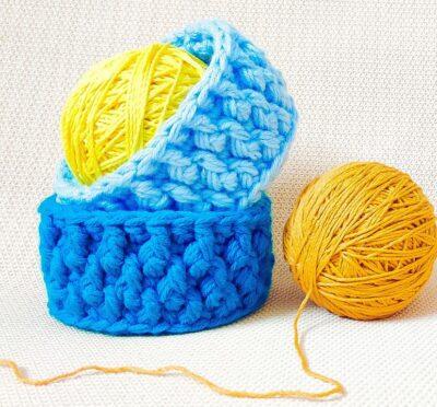 Three Strands Textured Crochet Organizer Baskets by rajiscrafthobby.