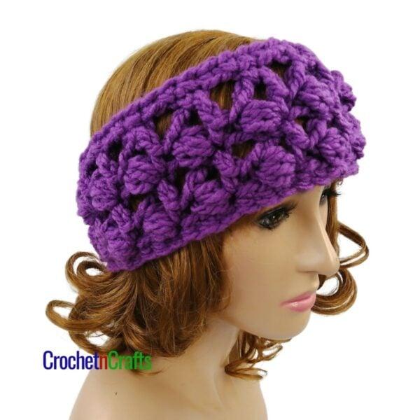 Slanted Puffs Ear Warmer Crochet Pattern by CrochetnCrafts.